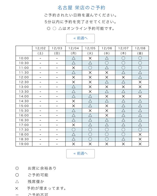 幸せのパンケーキ予約カレンダー