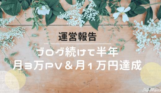 ブログ運営報告|続けて半年!ついに3万PV&月1万円達成