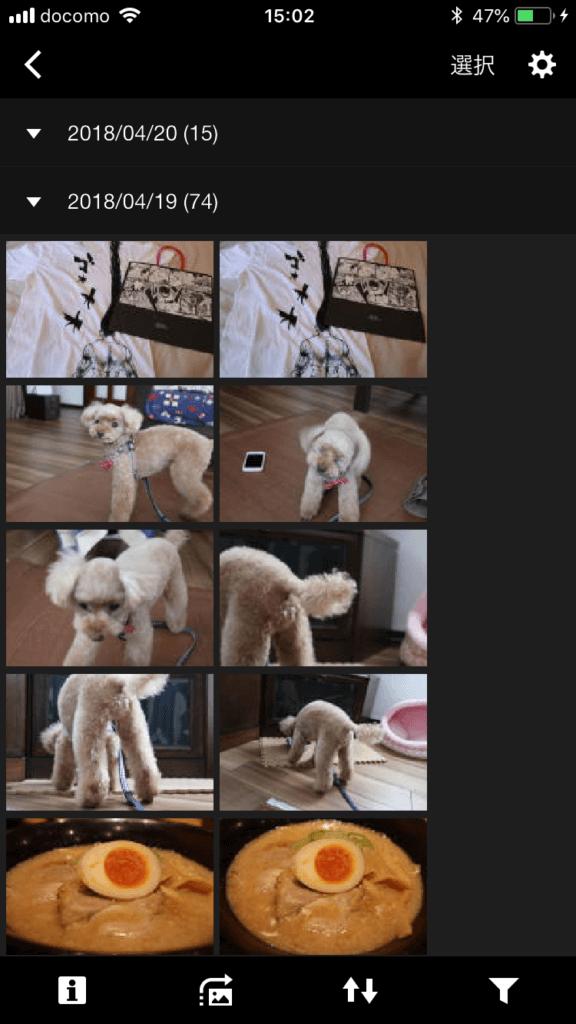 専用アプリで見たカメラ内の写真フォルダ